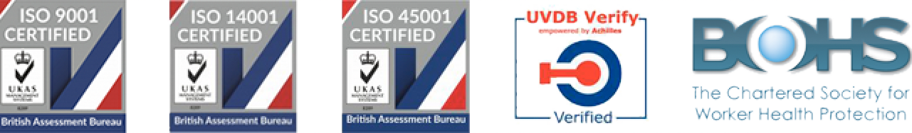 ISO 9001 ISO 14001 ISO 45001 UVDB Verified BOHS Certified
